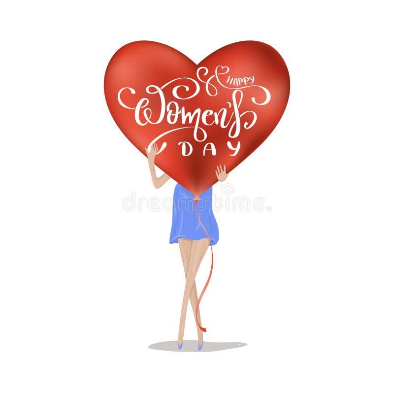 День женщин 8-ое марта с помечать буквами текст иллюстрация вектора