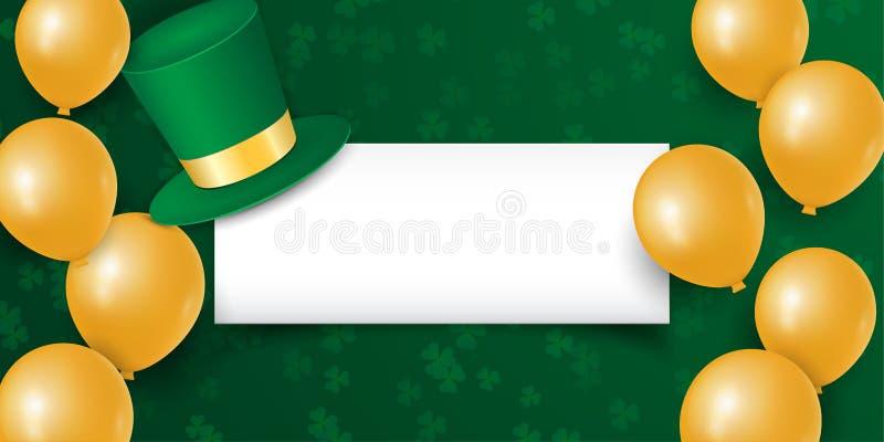 День счастливого St. Patrick с листьями shamrock клевера, воздушными шарами золота и шляпой с пустым космосом бесплатная иллюстрация