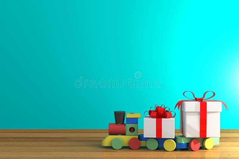 День рождества и Нового Года, подарочная коробка с красной лентой и поезд на деревянной таблице, белой подарочной коробке на голу бесплатная иллюстрация