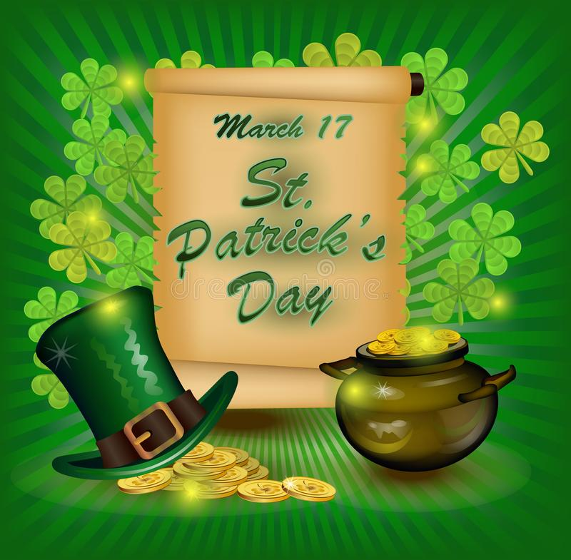 День St. Patrick открытки плаката на зеленой предпосылке шляпа, пиво и золотые монеты надписи иллюстрация вектора