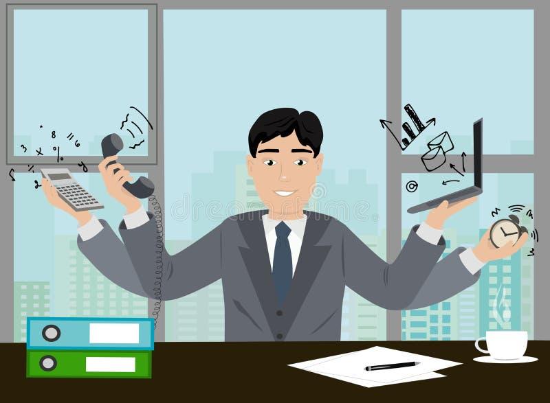 Деятельность администраторов по сбыту в значке вектора офиса Профессия иллюстрации концепции администраторов по сбыту Человек в с бесплатная иллюстрация