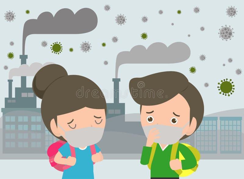 Дети в масках из-за точной пыли премьер-министра 2 маска 5, мальчика и девушки нося против смога Точная пыль, загрязнение воздуха иллюстрация штока