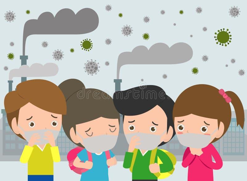 Дети в масках из-за точной пыли премьер-министра 2 маска 5, мальчика и девушки нося против смога Точная пыль, загрязнение воздуха иллюстрация вектора
