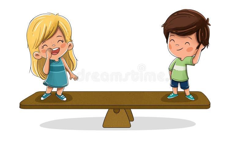 Дети в масштабе Концепция равности бесплатная иллюстрация