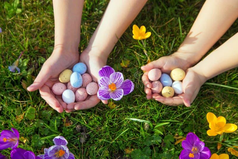 Дети ищут и находят пасхальные яйца стоковые фото