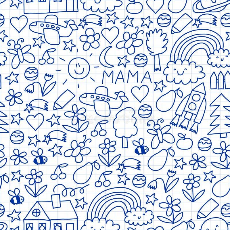 дети рисуя гору дома Картина с игрушками, космос красочного вектора безшовная, планета иллюстрация вектора