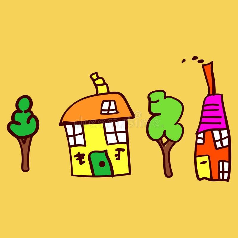 Дети рисуя дома и заводы в стиле doodle иллюстрация штока