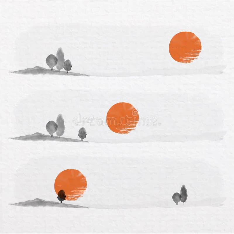 3 дерева и солнце в глуши со стилем искусства китайской росписи иллюстрация вектора