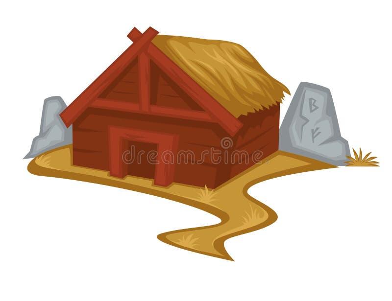 Деревянные дом или хижина Викинга со зданием соломы изолированным крышей иллюстрация вектора