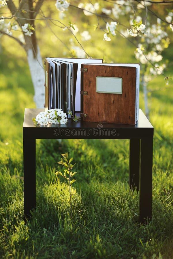 2 деревянных книги фото на таблице в природе Место для надписи стоковые фото