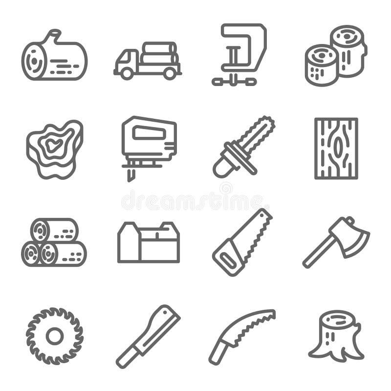 деревянное иконы установленное Содержит такие значки как цепная пила, журнал, ось и больше Расширенный ход иллюстрация вектора