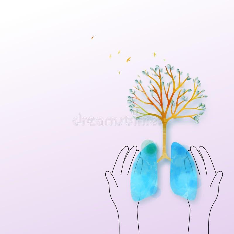 Дерево легких жизнь принципиальной схемы здоровая Окружающая среда концепции охраны лесов хорошая иллюстрация вектора