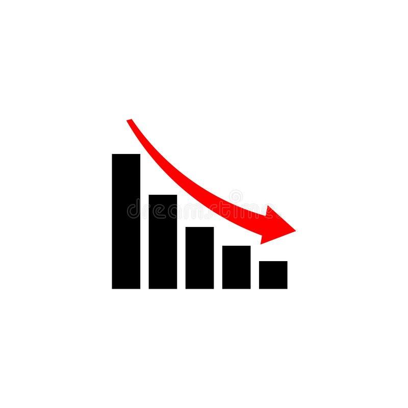 Диаграмма спада, диаграмма с барами склоняя, значок диаграммы иллюстрация штока