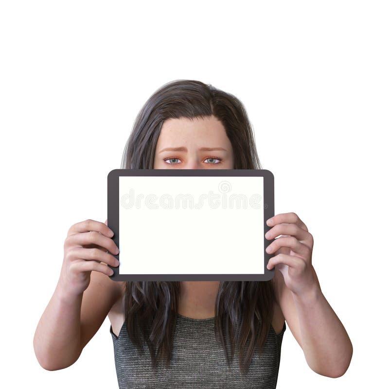 диаграмма 3D представляет женской диаграммы с пустым планшетом для содержания и грустного выражения стоковая фотография