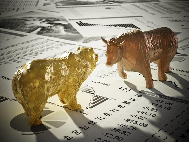 Диаграммы медведя и быка на страницах газеты экономики иллюстрация 3d иллюстрация вектора