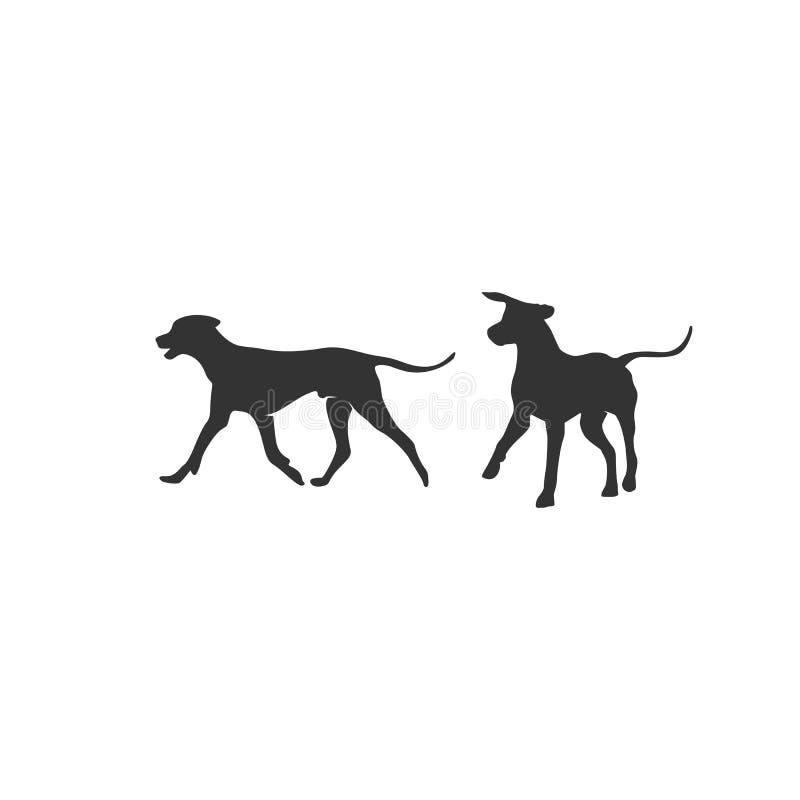 Дизайны иллюстраций силуэта собак бесплатная иллюстрация