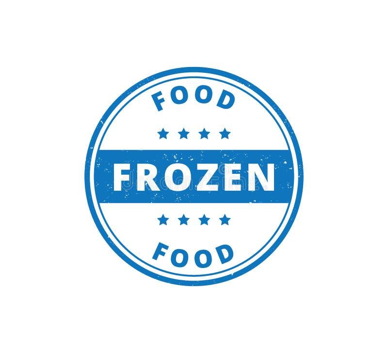 дизайн вектора ярлыка пищевого продукта замороженных продуктов круга текстурированный grunge иллюстрация вектора