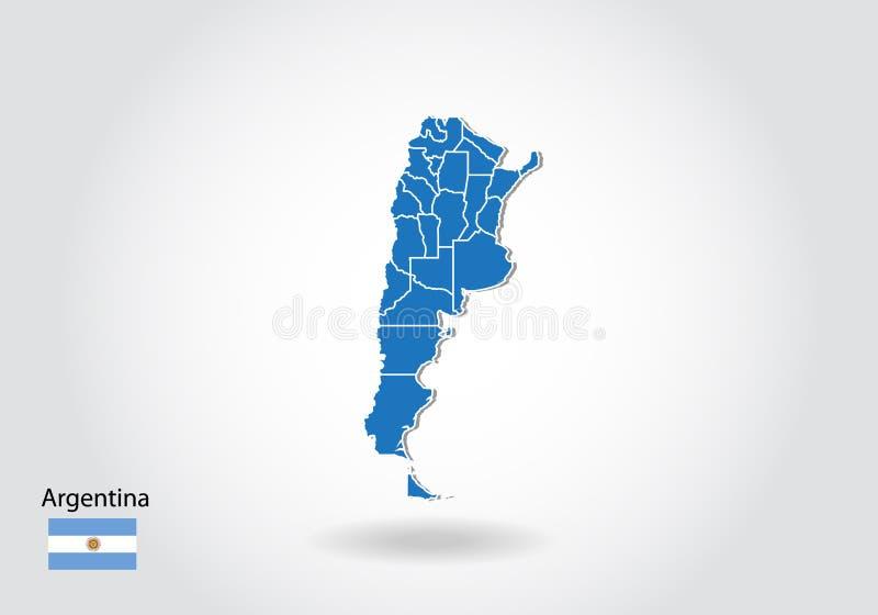 Дизайн карты Аргентины со стилем 3D Голубые карта и национальный флаг Аргентины Простая карта вектора с контуром, формой, планом, иллюстрация штока