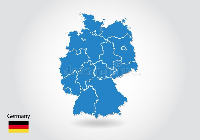 Дизайн карты Германии со стилем 3D Голубые карта и национальный флаг Германии Простая карта вектора с контуром, формой, планом, н бесплатная иллюстрация