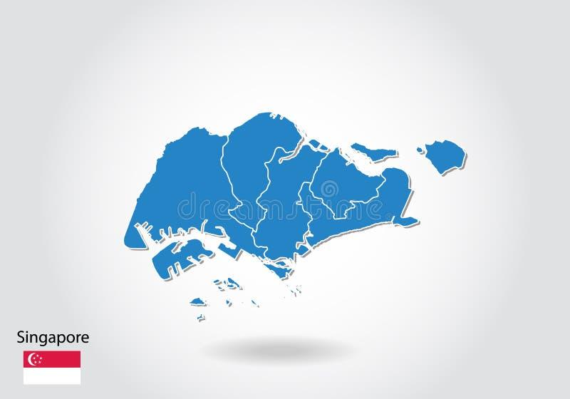 Дизайн карты Сингапура со стилем 3D Голубые карта и национальный флаг Сингапура Простая карта вектора с контуром, формой, планом, иллюстрация вектора