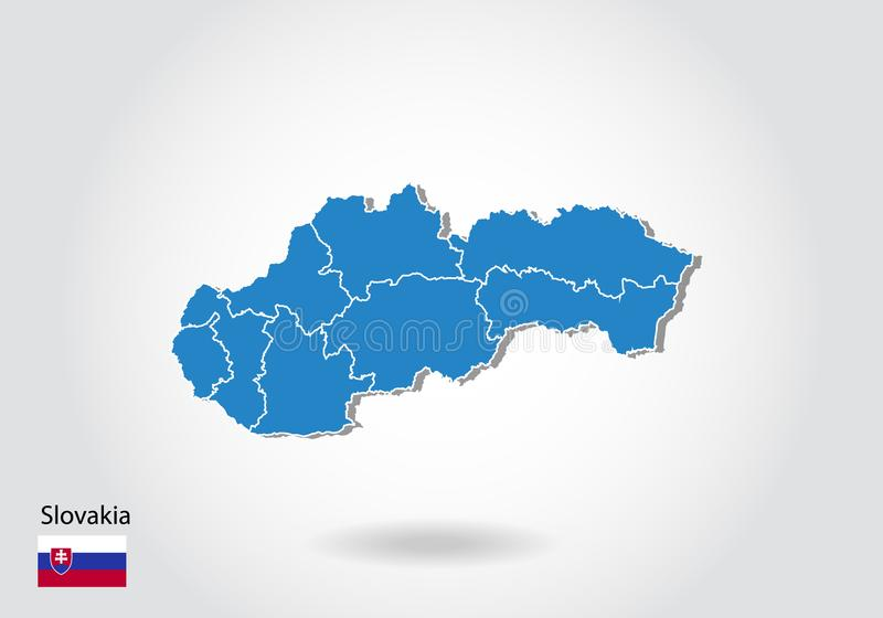 Дизайн карты Словакии со стилем 3D Голубые карта и национальный флаг Словакии Простая карта вектора с контуром, формой, планом, н иллюстрация штока