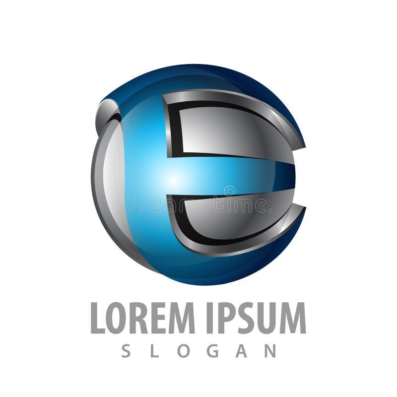 дизайн концепции логотипа письма 3D начальный e Вектор элемента шаблона символа графический иллюстрация штока