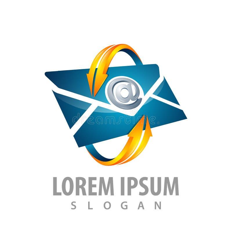Дизайн концепции логотипа Поверните стрелку с электронной почтой конверта Вектор элемента шаблона символа графический иллюстрация вектора