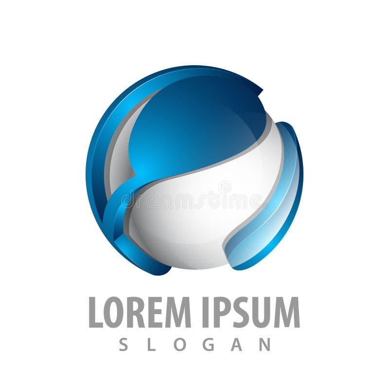 дизайн концепции логотипа сферы абстрактной технологии вектор элемента шаблона символа 3D графический бесплатная иллюстрация