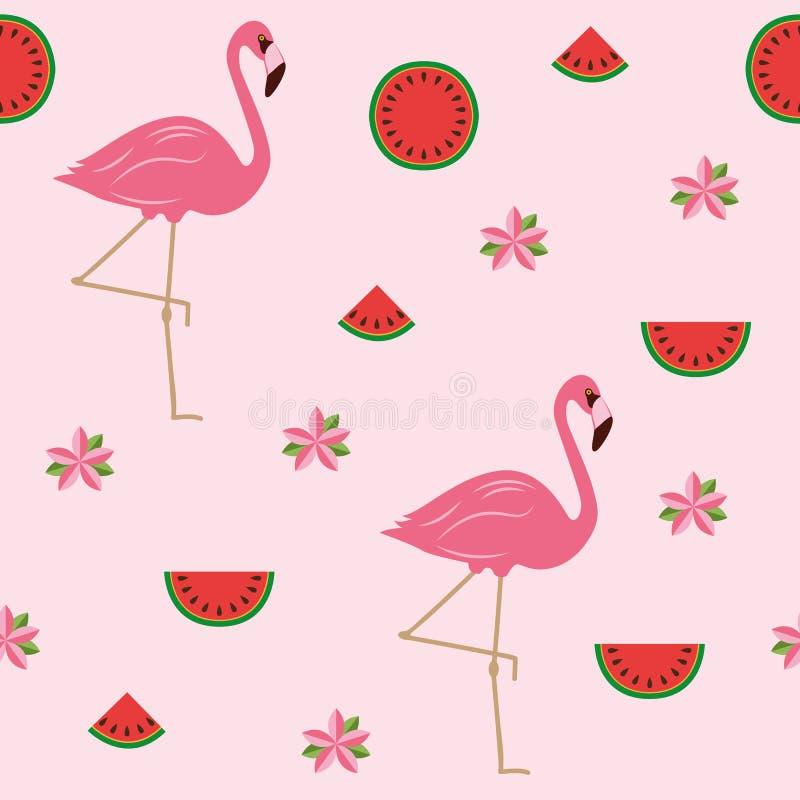 Дизайн лета безшовной картины тропический с цветками фламинго и арбузом иллюстрация штока