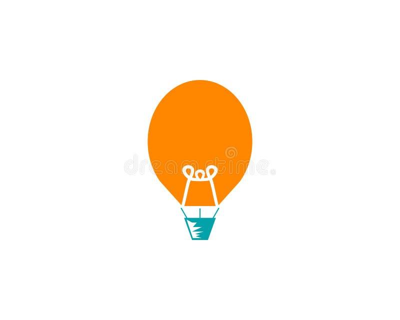 Дизайн логотипа воздушного шара и электрической лампочки иллюстрация штока