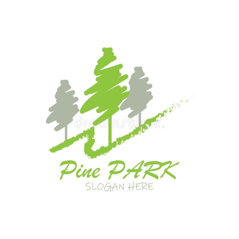 Дизайн логотипа парка сосны для места гольфа иллюстрация вектора
