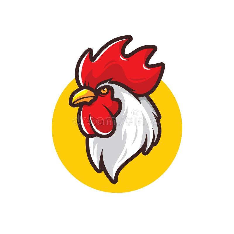 Дизайн логотипа петуха цыпленка изолированный на белой предпосылке иллюстрация вектора