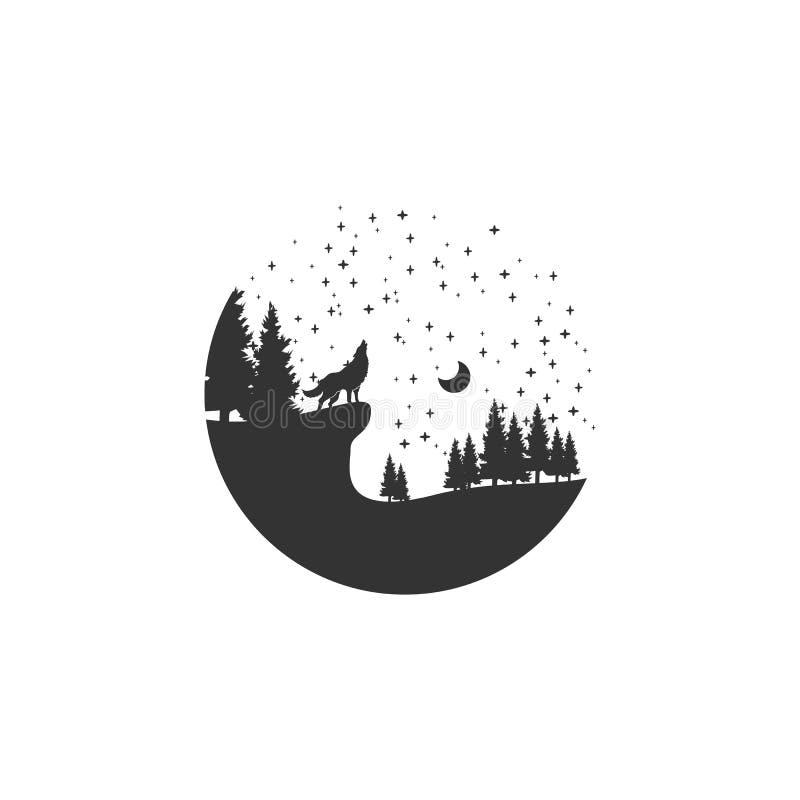 Дизайн логотипа приключения волка иллюстрация штока