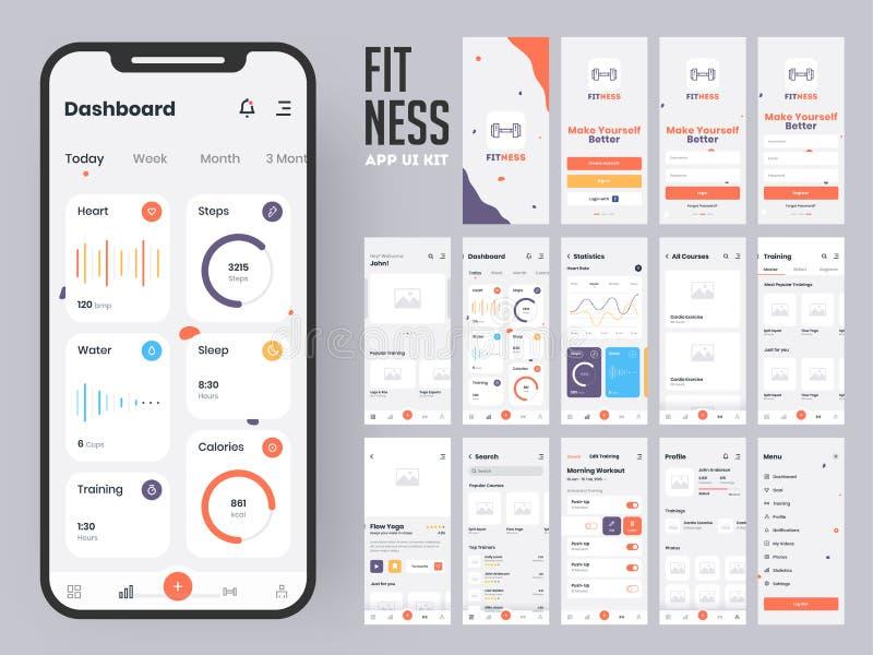 Дизайн приложения фитнеса материальный с плоскими экранами сети ui включая знак внутри иллюстрация вектора