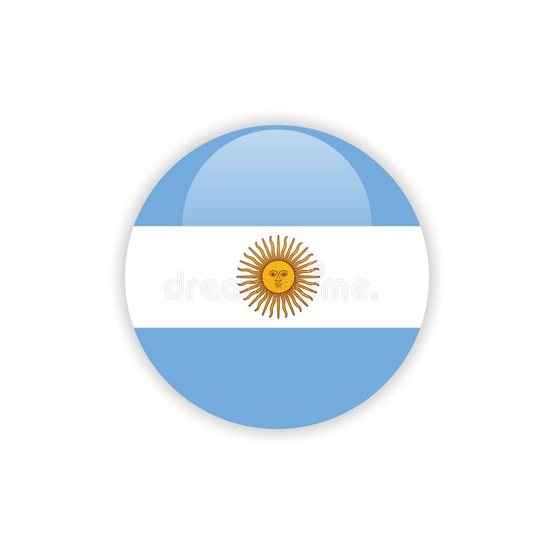 Дизайн шаблона вектора флага Аргентины кнопки иллюстрация штока