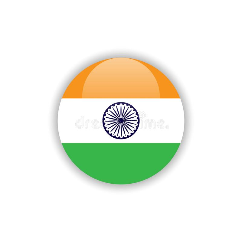 Дизайн шаблона вектора флага Индии кнопки иллюстрация вектора