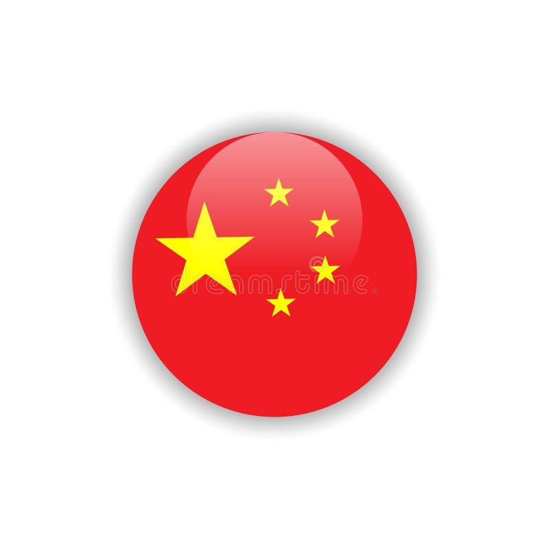 Дизайн шаблона вектора флага Китая кнопки иллюстрация штока