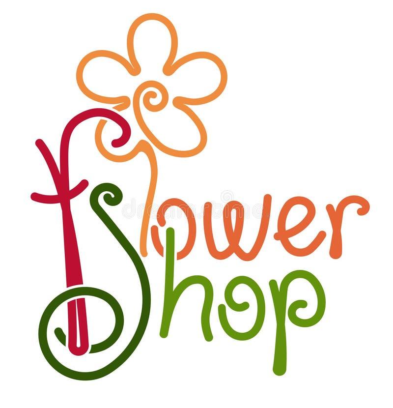Дизайн цветочного магазина рукописный красочный со стилизованной формой цветка Флористическая иллюстрация оформления магазина иллюстрация штока