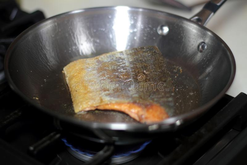 Дикие уловленные семги Coho жаря в лотке стоковое фото