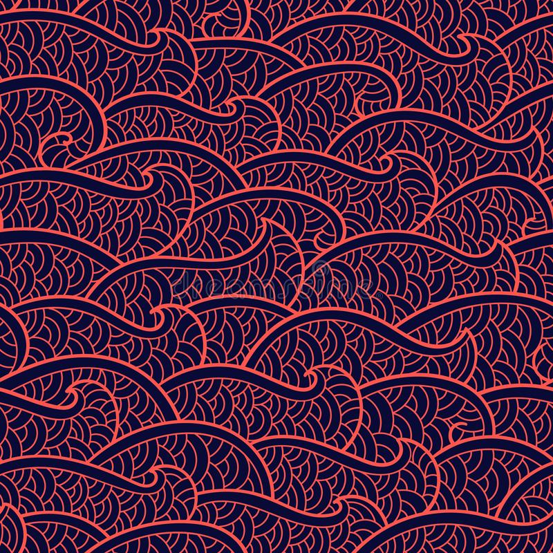 Seamless abstract pattern. Stormy waves. Vector illustration. Colorful illustration. Banner, flyer, invitation design stock illustration