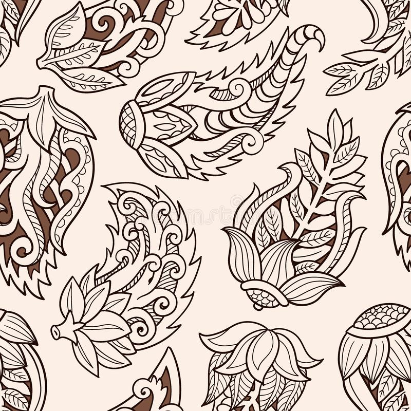 Floral seamless pattern. Doodle vector background with flowers, leaves. Indian ornament, henna style. stock illustration