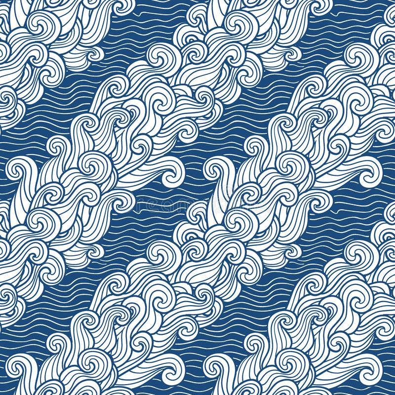 Seamless abstract pattern. Curly waves and spirals on cristal ice background. Seamless abstract pattern. Curly waves and spirals on water background. Vector vector illustration