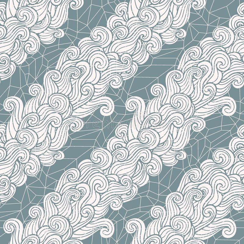 Seamless abstract pattern. Curly waves and spirals on cristal ice background. Vector illustration. The swell on the sea. Ocean ornament in oriental style stock illustration