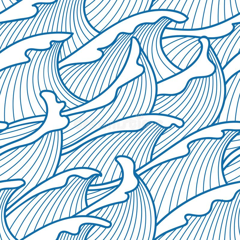 Seamless abstract pattern. Stormy waves. Vector illustration with ocean waves royalty free illustration