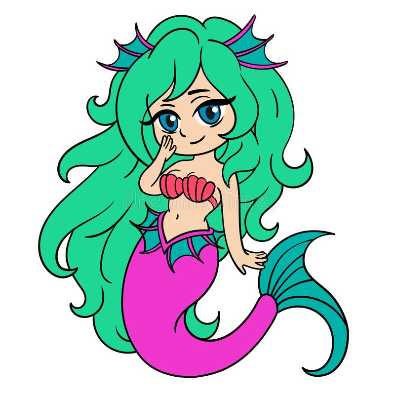 Vector illustration with little mermaid in anime style. Colorful illustration royalty free illustration