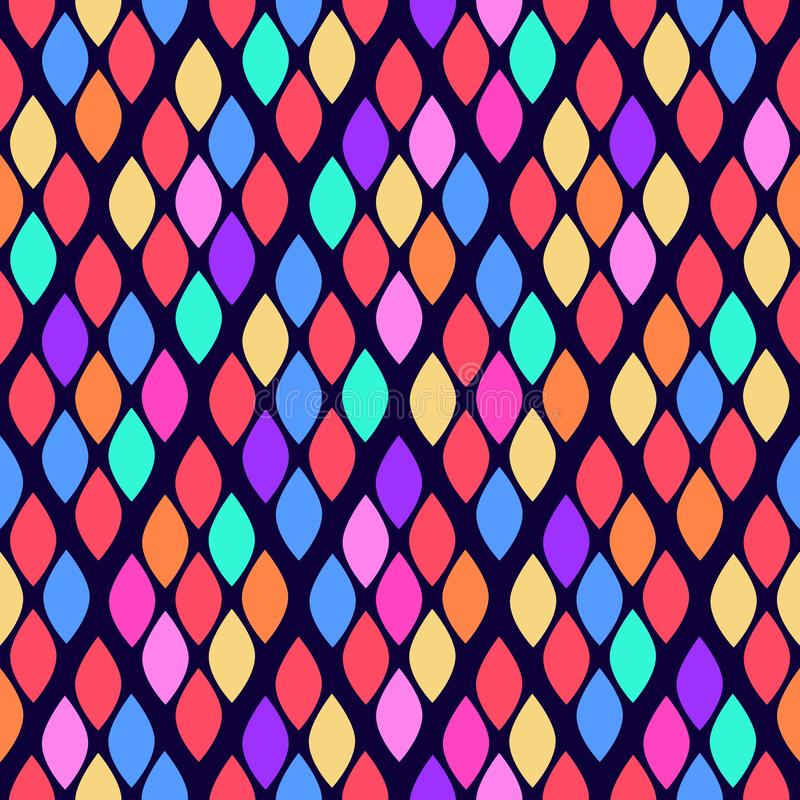 Seamless abstract wave pattern with colorful rhombuses. Vector illustration with abstract leaves. vector illustration