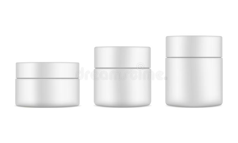 Set of plastic cosmetic jars mockups isolated. On white background. Cosmetics packaging 50ml, 100ml, 150ml. Vector illustration royalty free illustration