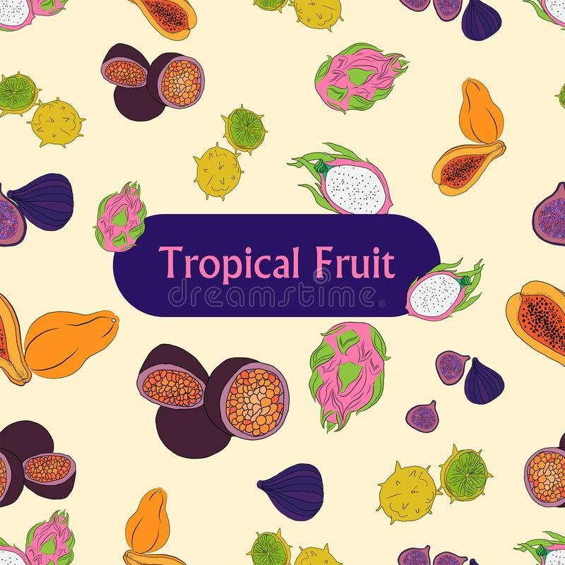 Colored tropical fruits , seamless patern . Vector illustration with the image of brightly colored tropical fruits , seamless patern royalty free illustration