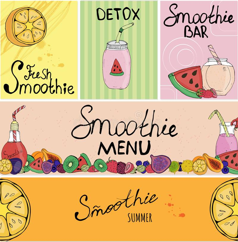 Banner, business card, flyer, beautiful background, detox, vegan, lettering, fruit, tableware for smoothies, packaging, decoration vector illustration