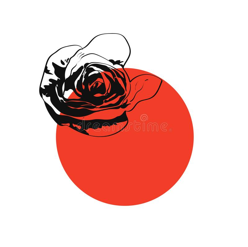 Round red frame with rose, black silhouette flower with place for your text on white background royalty free illustration
